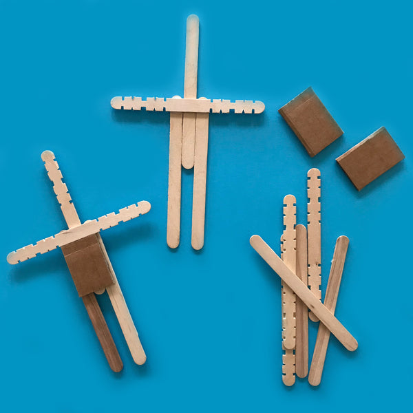 Wooden sticks used to make a DIY worry doll children's craft activity