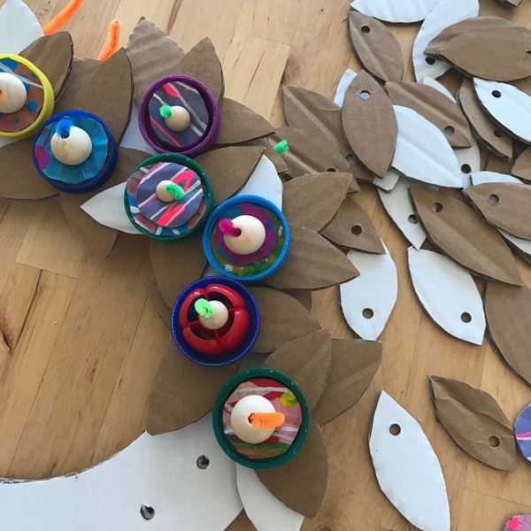 Up-cycled plastic bottle top Christmas wreath decorations