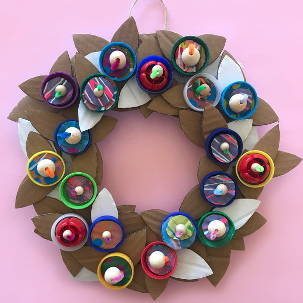Recycled plastic bottle top Christmas wreath decorations