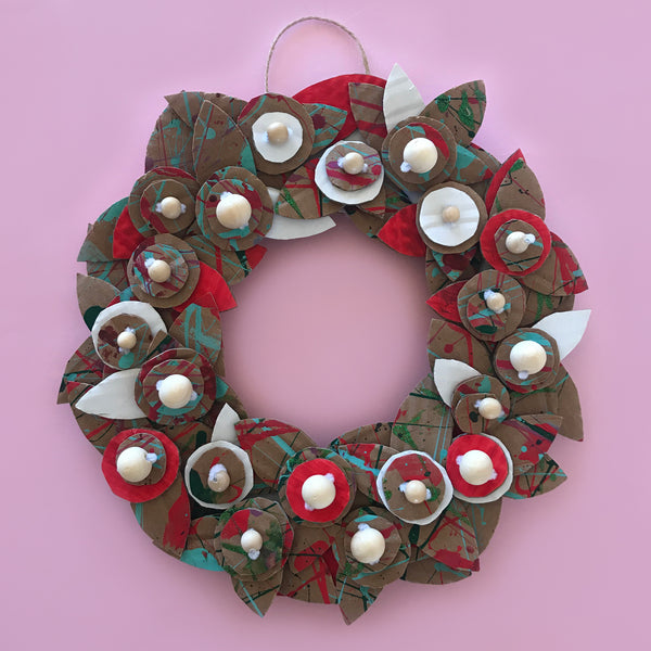 red and green cardboard Christmas wreath decoration