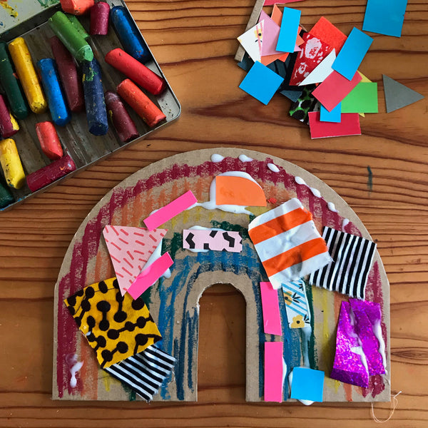 colourful collage rainbow childrens craft project