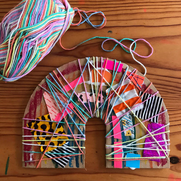 yarn wrapped collage rainbow kids craft project