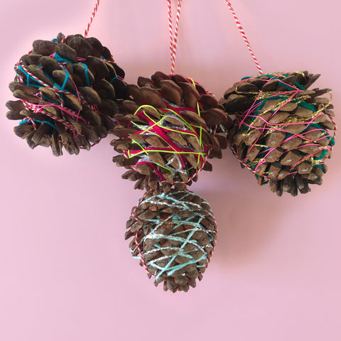 kids yarn wrapped pine cone Christmas decorations