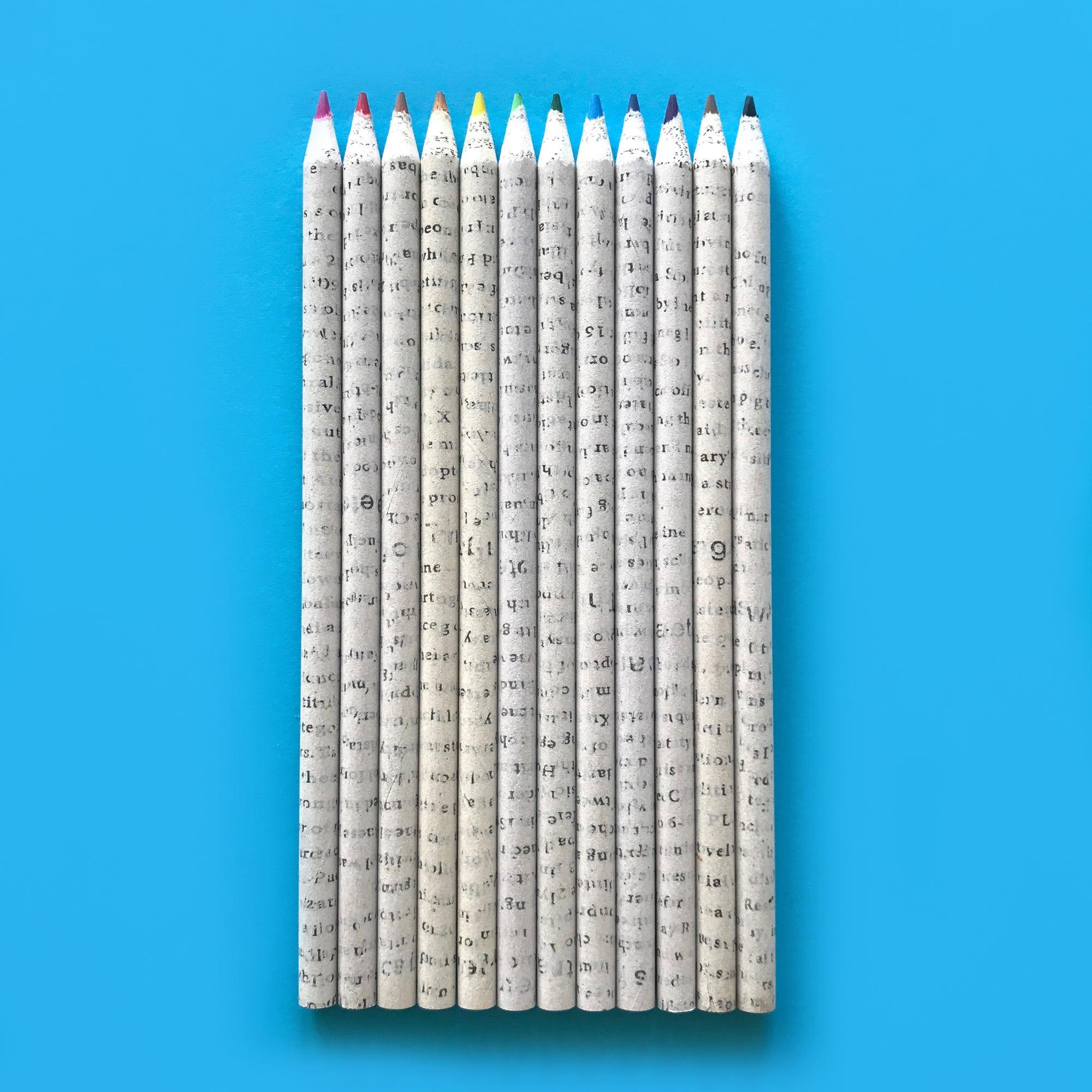 12 Recycled Newspaper Colouring Pencils