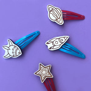 Space Rocket Hair Clips