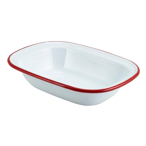 Enamel Rect. Pie Dish White with Red Rim 20cm