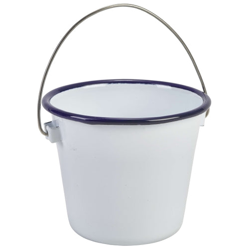 Enamel Bucket White with Blue Rim 10cm Dia