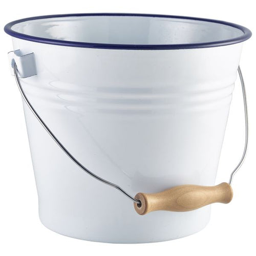 Enamel Bucket White with Blue Rim 16cm Dia