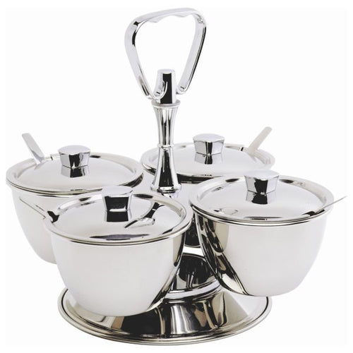 S/St.Revolving Relish Server 4-Way