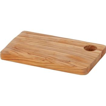 Rectangular Olive Wood Board with Hole 24.5x15.2x1.9cm