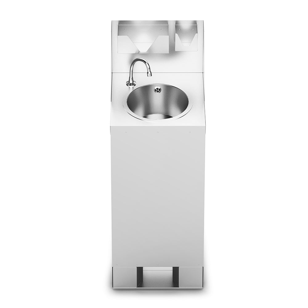 F63/501 - IMC Mobile Hand Wash Station with Splashback, Soap & Paper Towel Holder - W 450mm - 3.0kW