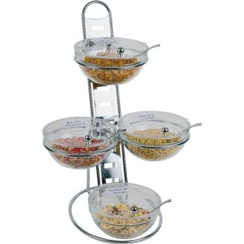 3 Tier Chrome Serving Stand, 4 Glass Bowls (23cm)