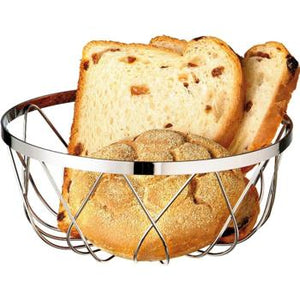 Chrome Plated Bread Basket. Stackable. (18cm)