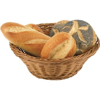 Round Poly Rattan Bread Basket. Stackable. (25.5cm)