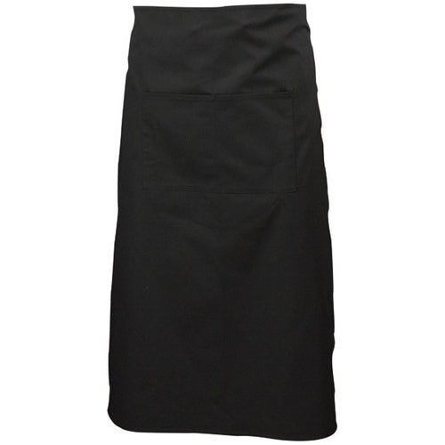 Black Long Apron W/ Split Pocket 90cm Long