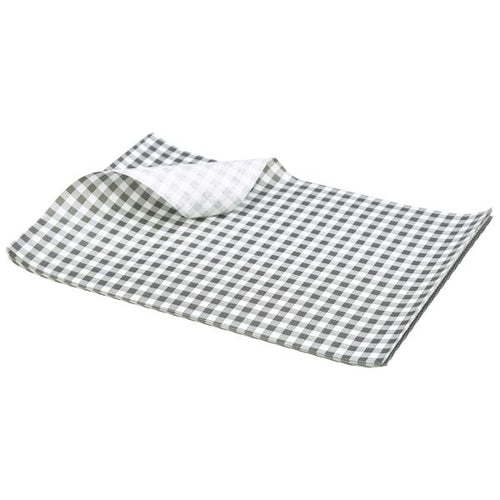 Greaseproof Paper Black Gingham Print 25 x 20cm
