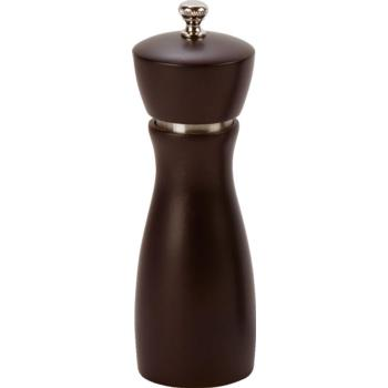 Pepper Mill 6'' Rubber Wood S/S with Carbon Steel Grinder