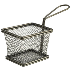 Black Serving Fry Basket Rectangular 10 x 8 x 7.5cm