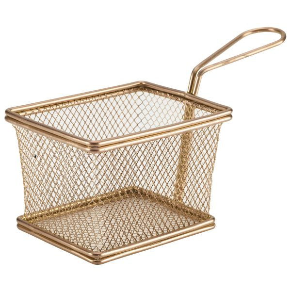 Copper Serving Fry Basket Rectangular 12.5 x 10 x 8.5cm