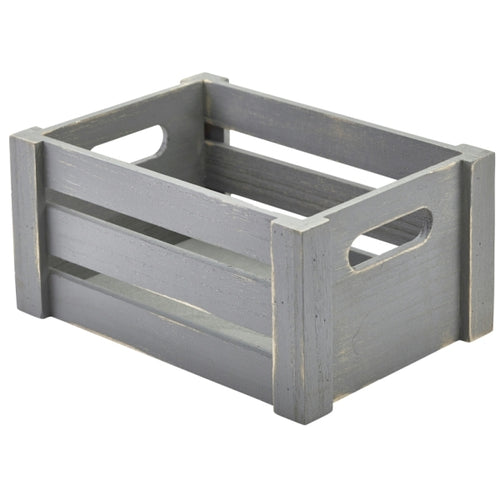 Wooden Crate Grey Finish 22.8 x 16.5 x 11cm