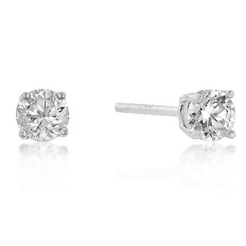 Sterling Round Cut Cubic Zirconia Studs Silver 6mm