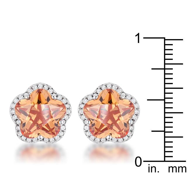 Amanda's Floral Cut Champagne CZ Stud Earrings