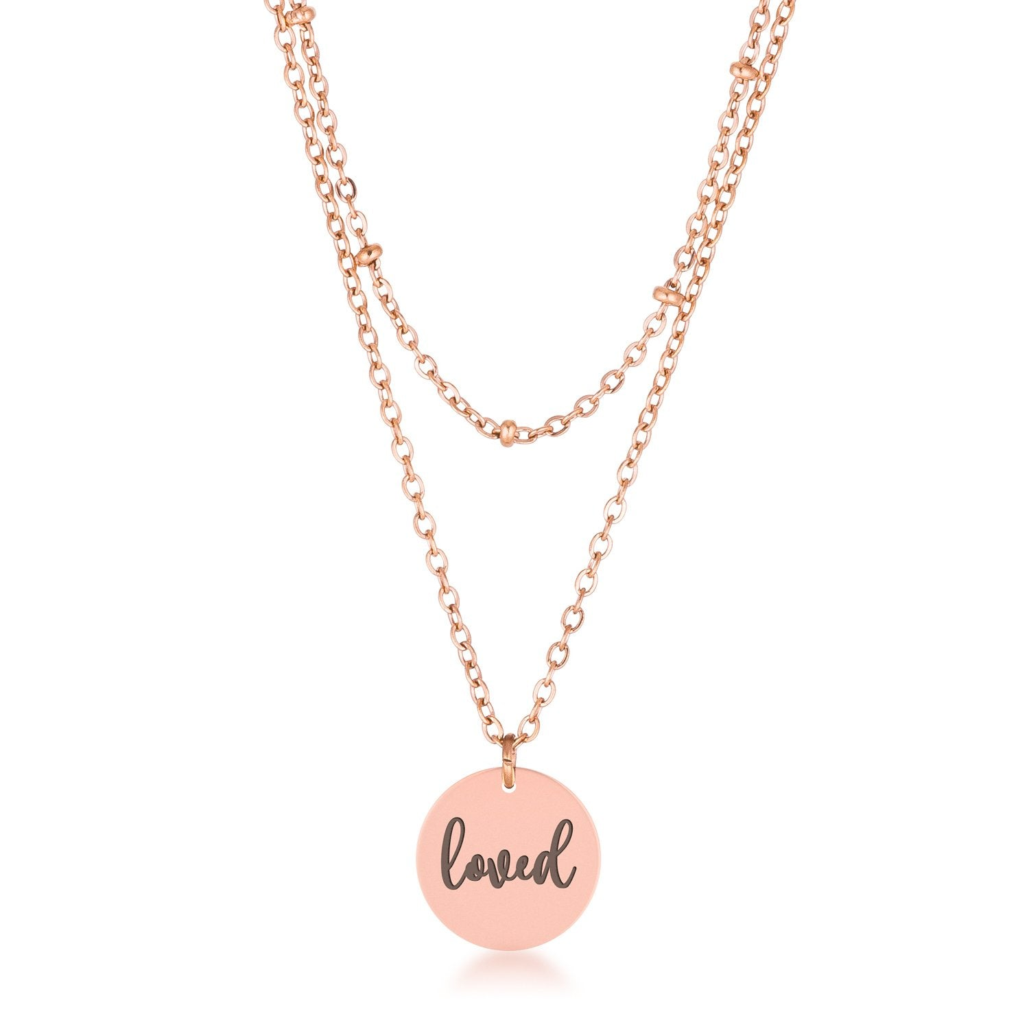 Double Chain loved Necklace-Delicate Rose Gold Plated