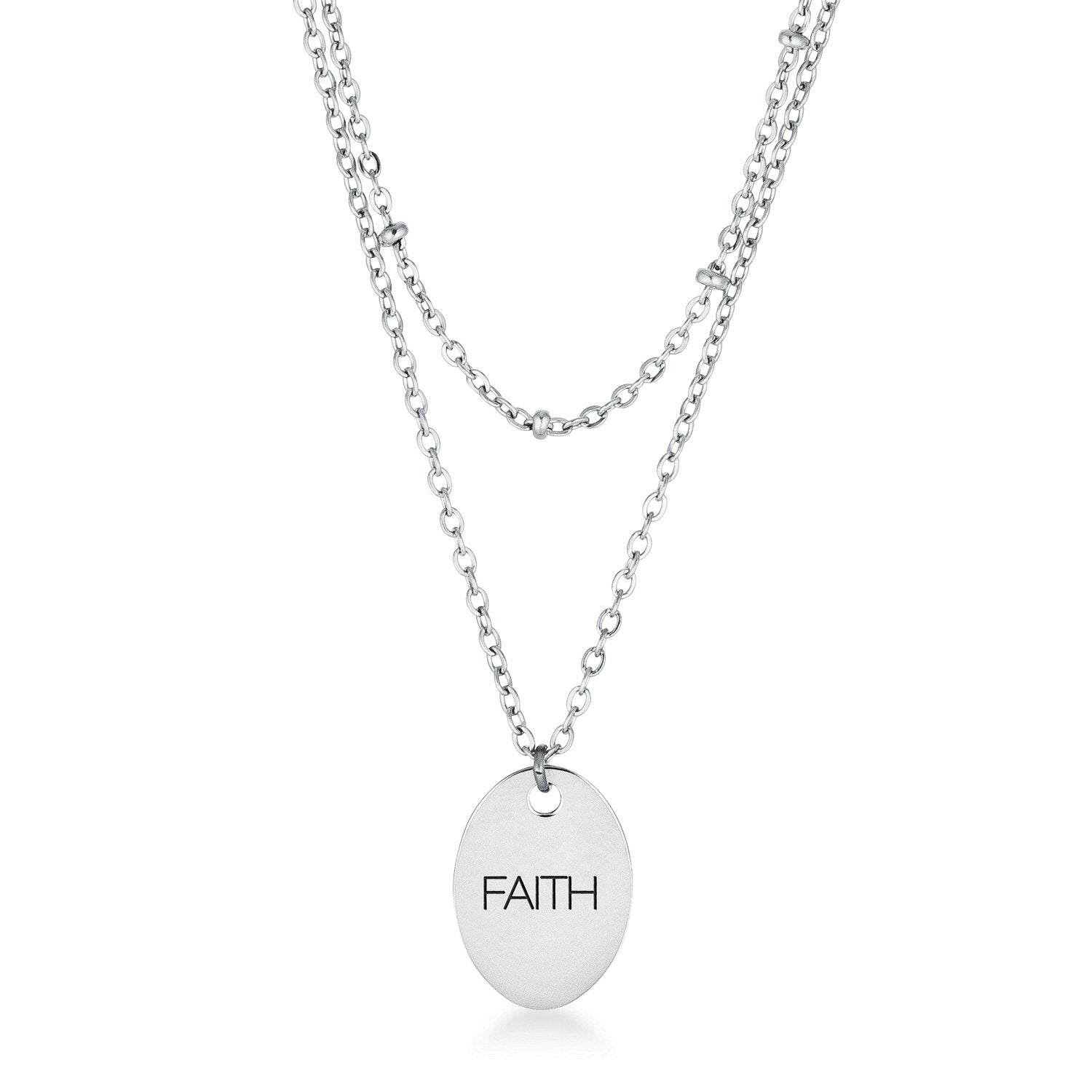 Double Chain FAITH Necklace Stainless Steel