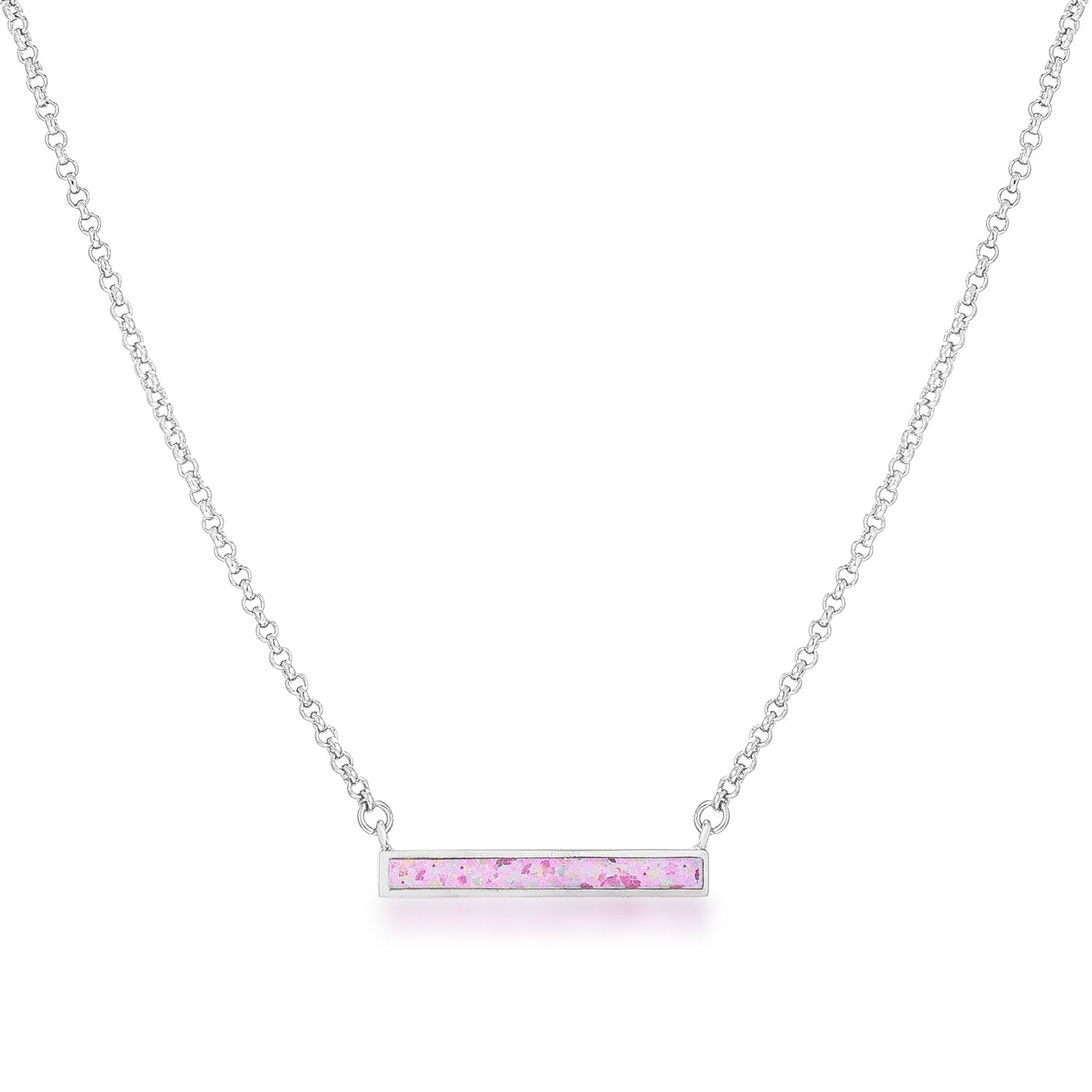 Emma's Pink Opal Bar Necklace