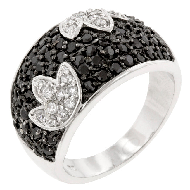 Jennifer's Black & White Tulip Ring