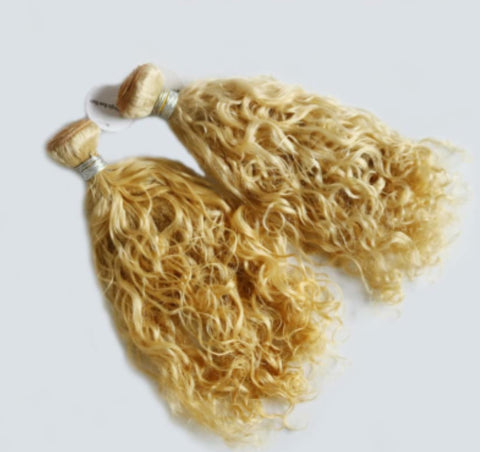 Brazilian Blonde Deep Curly Hair - 10 Grade
