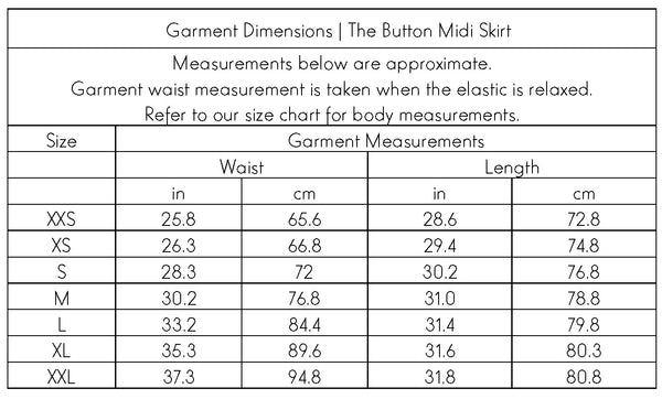 The Button Midi Skirt Garment Dimensions | Swahlee creates a handmade capsule wardrobe of clothing essentials made ethically in India using sustainable production and natural fabrics.