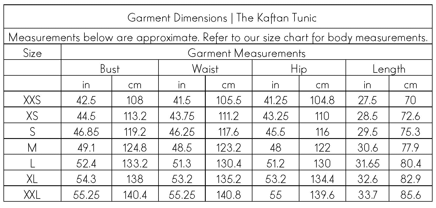 The Swahlee Capsule Collection Kaftan Tunic Garment Dimensions
