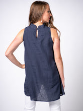 Load image into Gallery viewer, Swahlee creates a handmade capsule wardrobe of clothing essentials made in India using sustainable production and natural fabrics. The Stand Collar Tunic in Navy.