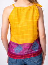 Load image into Gallery viewer, Swahlee creates a handmade capsule wardrobe of clothing essentials made in India using sustainable production and natural fabrics. The Upcycled Sari Tie-Neck Halter Top.