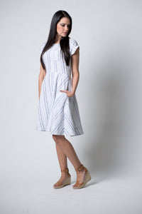 Liberty in White & Indigo Stripe