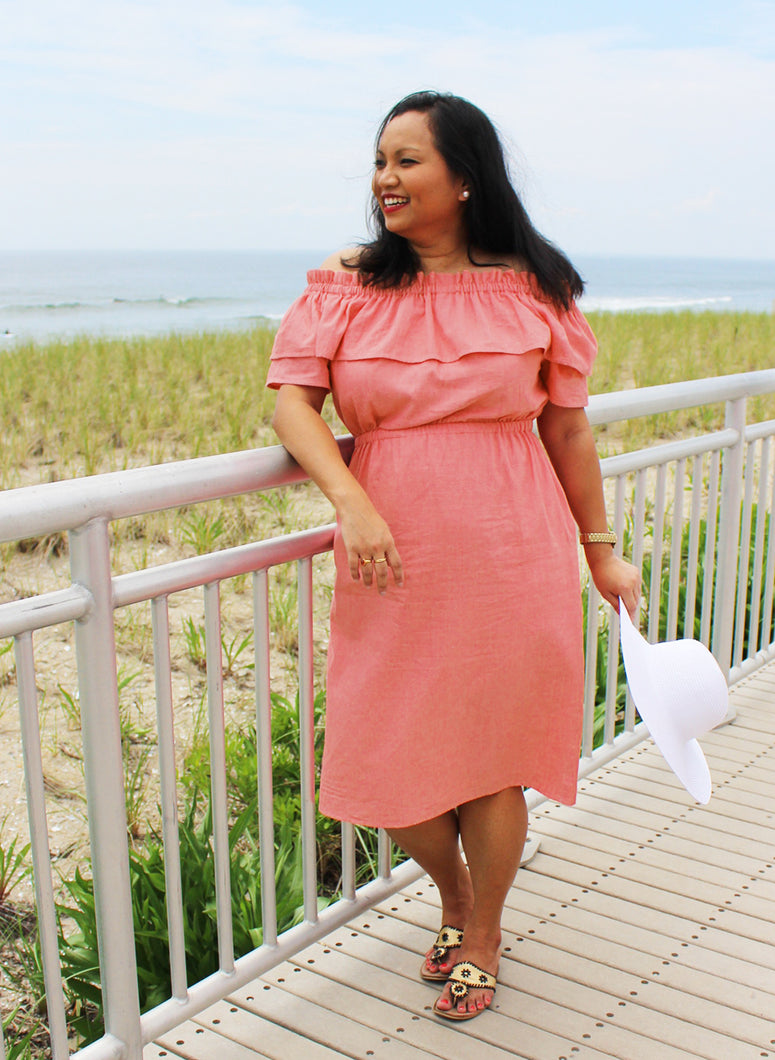 The Akha Dress in coral pink, size Large