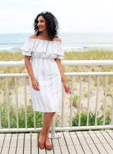 The Brave Dress in white with varied indigo stripe, size Extra Small