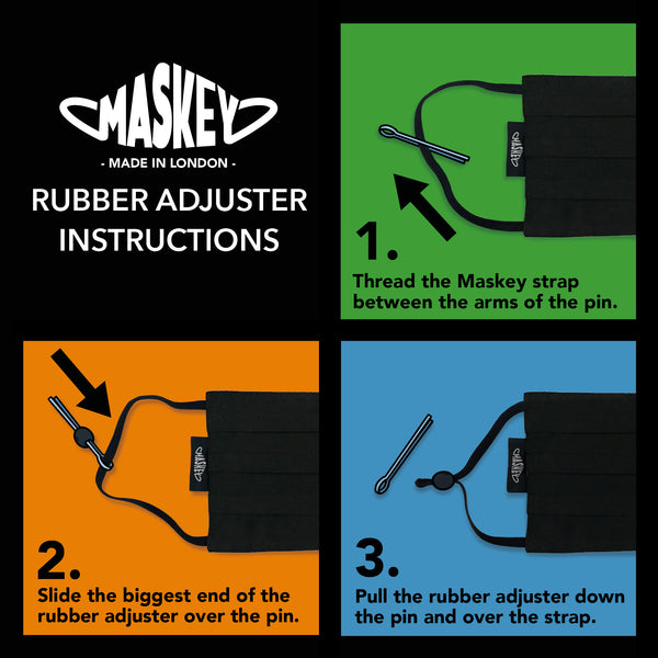 Bundle of 10 Black Maskeys - JUST £2.80 EACH! | Strap Adjusters included for the Perfect Fit