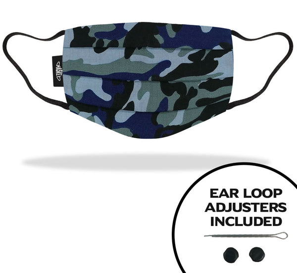 Blue Camo Face Mask | Strap Adjusters included for the Perfect Fit