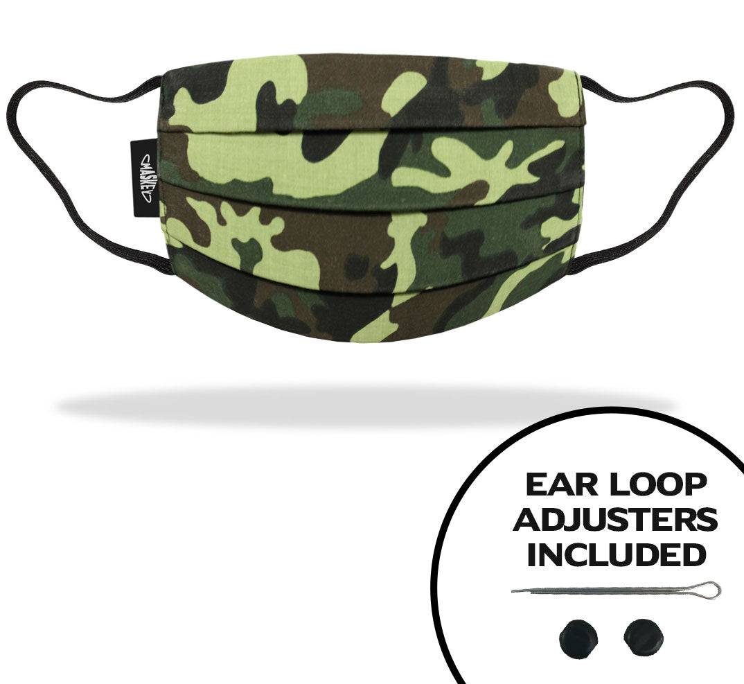 Kids Dark Green Camo Face Mask