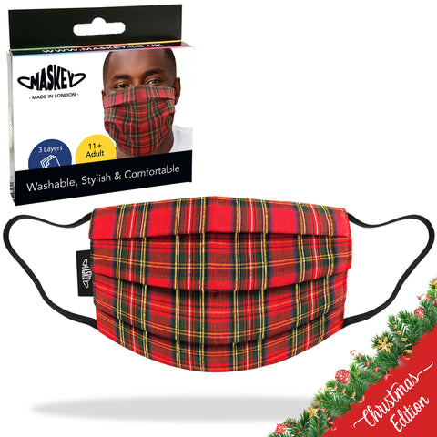 Gold Tartan Christmas Edition Face Mask