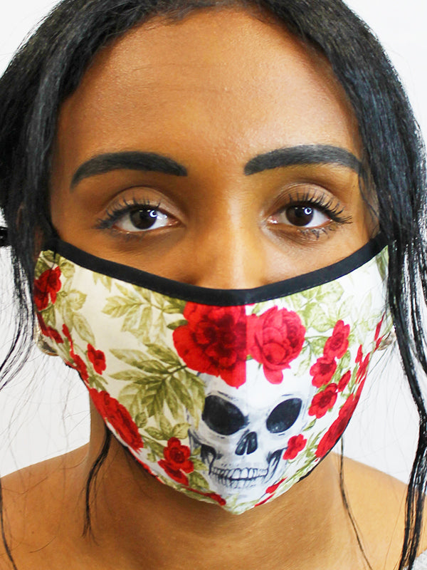 Skulls and Roses Face Mask with a PM2.5 Filter