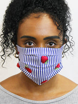 Strawberry's on Blue Stripes Fashionable Face Mask