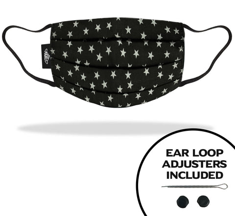 Black and White Stars Face Mask