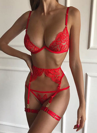Lace Embroidery Flower 3 Pieces Lingerie Set