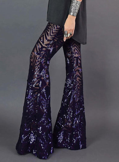 Bell-Bottom Sequin Pants