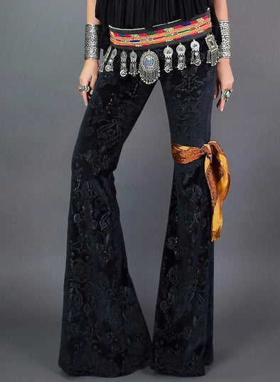 High Waist Velvet Bell-bottom Pants