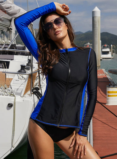 Detail Zip Front Long-Sleeve Rashguard Top