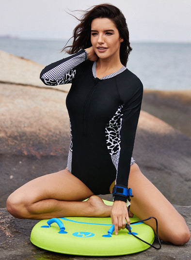 Mottled Splice Long Sleeve Zip Front One Piece Swimsuit